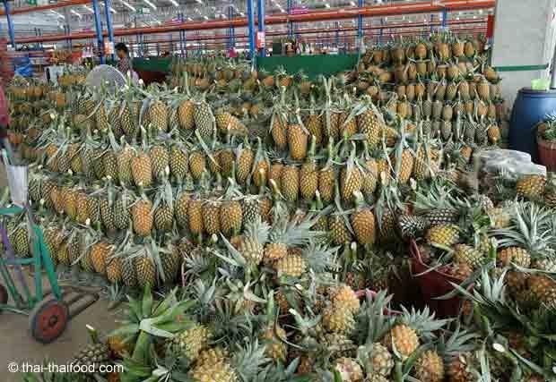 Ananas auf einem Thai Markt kaufen