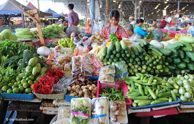 Gemüsemarktstand in Thailand