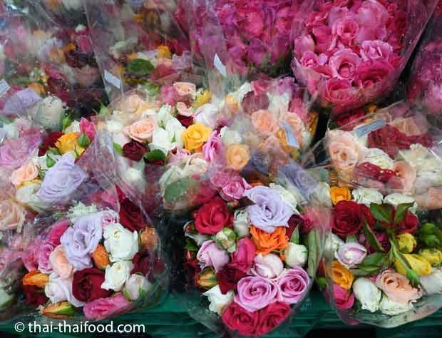 Blumensträuße vom Blumenmarkt Bangkok