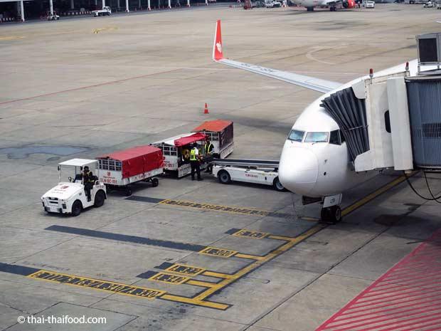 Koffer auf Flugzeug laden in Thailand