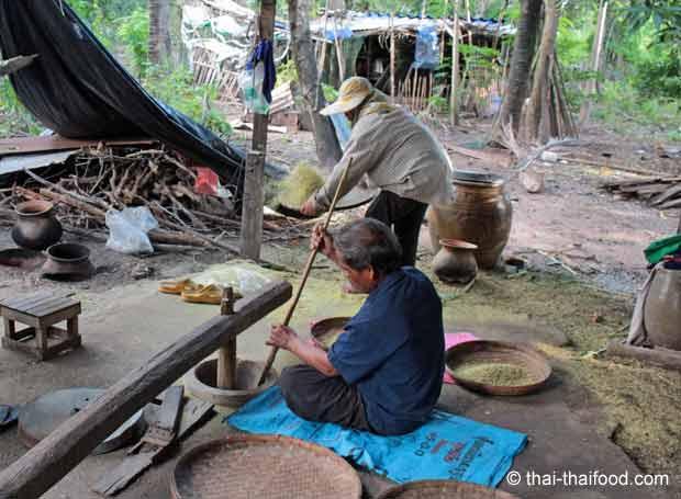 Maschine zum Trennen der Spelzen vom grünen Reis