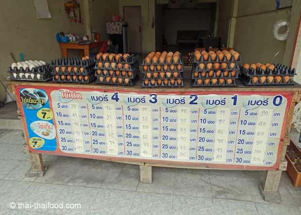 Thai Eier mit unterschiedlichen Größen