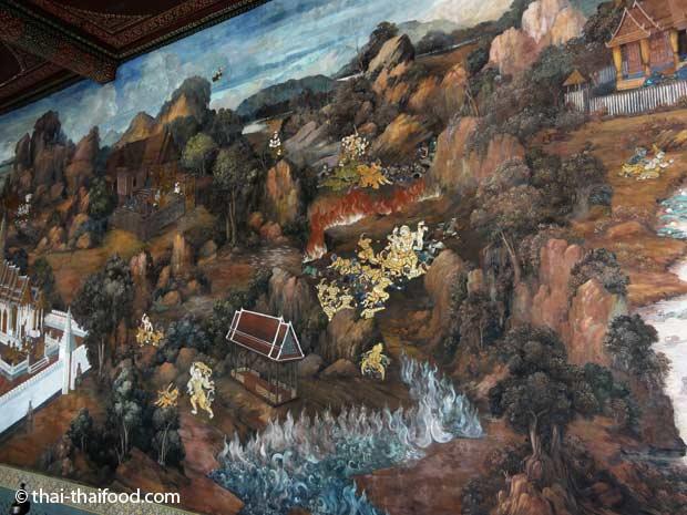 Klassische thailändische Wandmalereien im Wat Phra Kaeo
