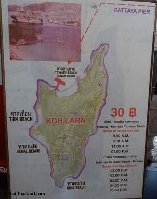 Koh Larn Karte mit den Stränden