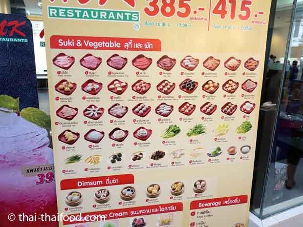 Suki und Gemüseauswahl im MK Restaurant