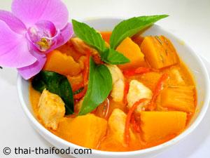 Thai Kürbis Curry mit Huhn - Gäng Fak Thong Sai Gai