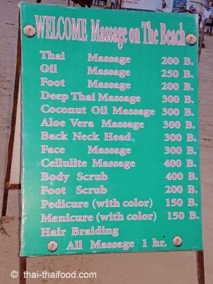 Preise für Thai Massage auf Koh Samui