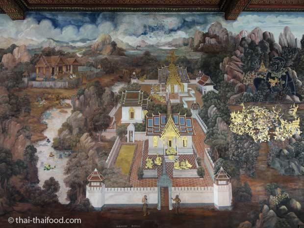 Ramakien Wandmalereien das große hinduistische Epos