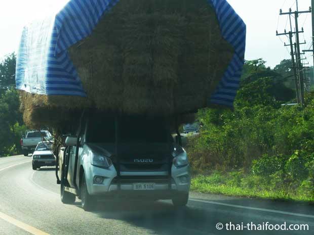 Überladenes Fahrzeug mit Strohballen