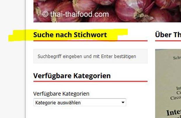 Thai Food Kategorien und Thai Rezepte suchen