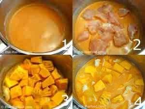 Kochschritte beim Kochen von Thai Kürbis Curry