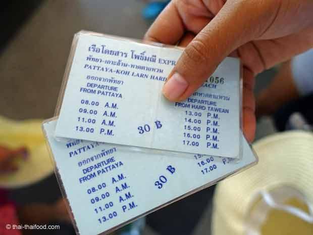 Ticket für Fähre von Pattaya nach Koh Larn