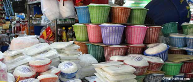 Tofu Verkauf auf dem Talat Thai Markt bei Bangkok