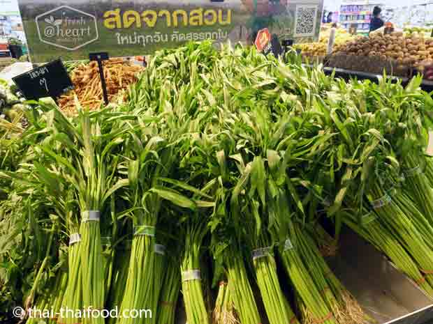Im Thai Supermarkt kann man Chinesischen Wasserspinat kaufen