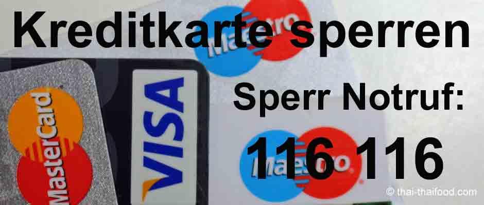Notrufnummer für Kreditkarte sperren