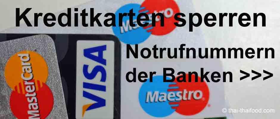 Sperr Notruf Nummern für Kreditkarten