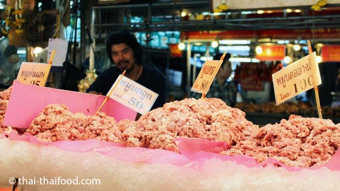 Hackfleisch Verkauf auf einem Thai Markt