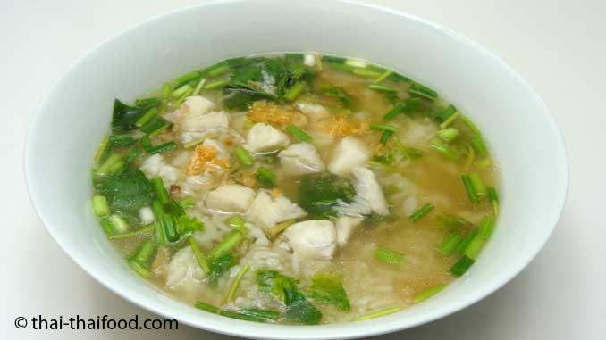 Thai Reissuppe mit Fisch